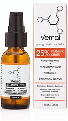 Vernal Anti Aging Serum - A High Grade 25% Pure Organic Vitamin C For Face With Hyaluronic Acid. Potent Anti-aging, Anti-wrinkle Treatment, Skin Tightening, Dark Spot Removal And Collagen Stimulation.