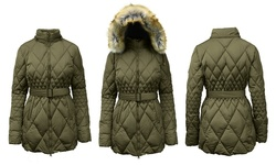 Spire by Galaxy Diamond Quilted Heavyweight Puffer - Olive - Size: 3XL