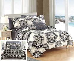 Chic Home QS4053-AN 4 Piece Madrid Super Soft Microfiber Large Printed Medallion Reversible With Geometric Printed Backing Quilt Set, King, Black