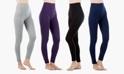 Sociology HL1000B-L High-Waist Stretchy Leggings 4Pk - Black - Size: XL