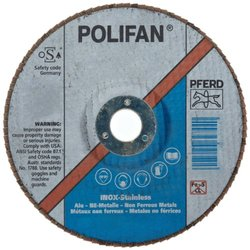 "PFERD Polifan SG CO-COOL Abrasive Flap Disc, Type 27, Round Hole, Phenolic Resin Backing, Aluminum Oxide, 7"" Dia., 120 Grit (Pack of 1)"
