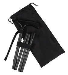 Ez2care Classy Adjustable Folding Cane with Carrying Case, Metallic Grey