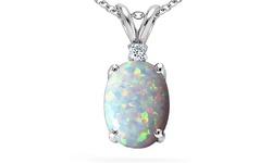 2.5ctw Genuine Diamond Opal Oval Pendant in Sterling Silver