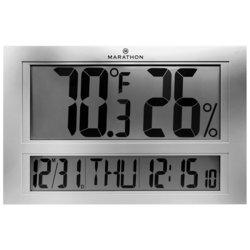 Marathon Jumbo Indoor Digital Thermometer Monitor with Clock & Calendar