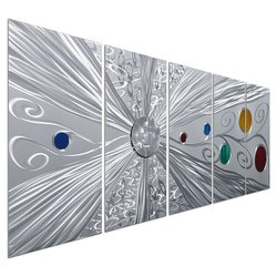 "Pure Art Silver Metal Space Colorful Circles Wall Art Set of 5 - 64"" x 24"""
