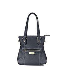 Aretha 151041-bl Genuine Leather Ladies Satchel Top Handle Bag - Black