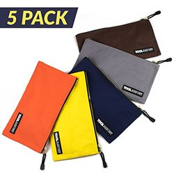 """5-pack - Heavy Duty 16 Oz. Canvas Tool Bags With Metal Zipper, 12.5"""" X 7""""   Organize, Sort And Storage Pouch"""