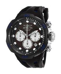 Men's Venom Chronograph Black and Blue Silicone Black Dial SS
