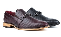 Signature Men's Diamond Cut Loafers- Black-Size: 12