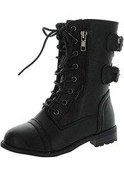 Valerie Shoe Mango 61K Girls Zipper Military Combat Boot - Black - Size: 2