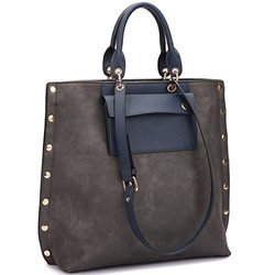 Dasein Tote With Front Pocket And Gold Snap Accents -  Grey/Navy