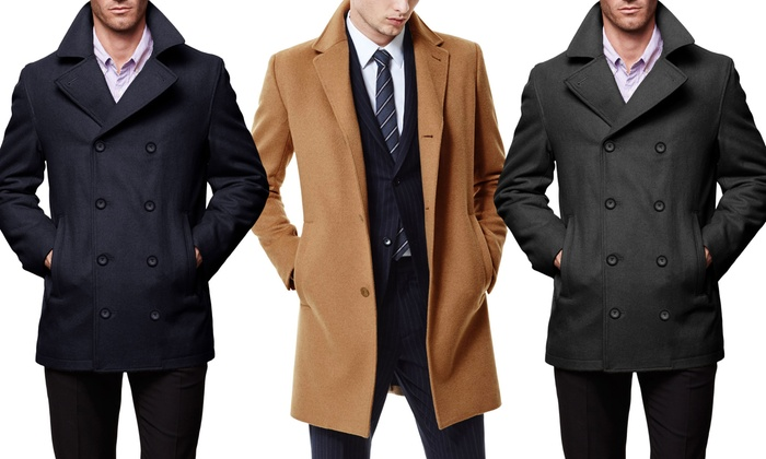 Braveman Men's Single Breasted Wool Blend Coats-SWC01-CAMEL-L ...