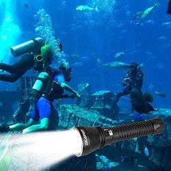 ydp-sport HP70 Underwater Waterproof LED Scuba Diving Flashlight Torch - Black