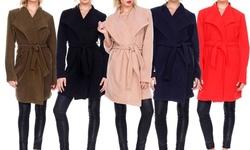 Women's Winter Long Sleeve Trench Coat Jacket With Belt: Khaki/medium
