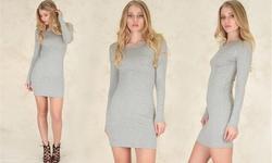 Women's Long Sleeve Bodycon Dress - Grey - Size: Medium