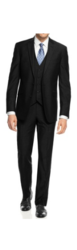 Braveman Men's 3-Piece Slim Fit Suit - Black - Size: 54L x 48W