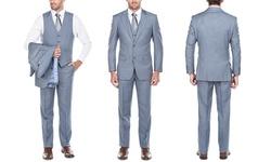 Verno Men's Striped Classic Fit Suit Suit 3 Piece - Blue - Size: 40Sx34W