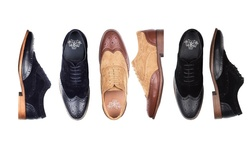 Royal Men's Tone-on-tone Wing Tip Dress Shoes: Brown/9
