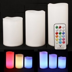 Frostfire Weatherproof Color Changing Candles with Remote & Timer -3 Count
