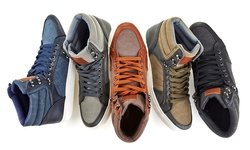 Franco Vanucci Men's Lace Up High Top Sneakers: Black/Black - Size 9.5