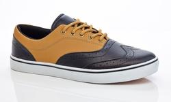 Adolfo Men's Lace-up Oxford Sneakers: Black/tan - 9