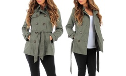 Ambiance Women's 5-Button Trench Coat - Military Olive - Size: Large