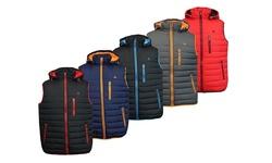 Spire By Galaxy Men's Lightweight Puffer Vest: Black-red/xl