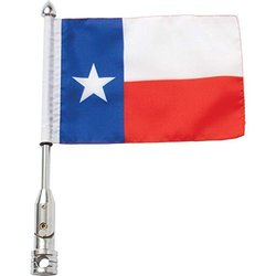 Diamond Plate Motorcycle Flagpole Mount & Flag - Texas