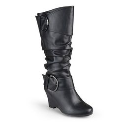 Journee Women's Extra Wide Calf Low-wedge Buckle Boots - Black - Size: 9