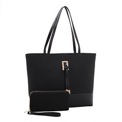 Nora Suede Tote Handbag And Wallet Set: Black