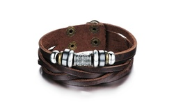 Genuine Men's Leather Heavy Charm Bracelet - Stainless Steel/Brown