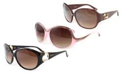 Bebe Sunglasses: Bb7029-001 Pink Frame-brown Gradient Lens