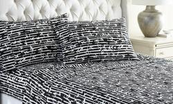 Hotel New York Bamboo Design Microfiber Sheet Sets - Black/Ivory - Size: Full