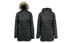Spire Women's Puffer Jacket with Detachable Trim - Black - Size: XL