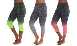 Women's Two Tone Yoga Capris(3-pack)blk+coral/blk+gray/blk+n.green-small