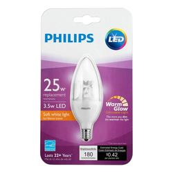 Philips 457226 25W Soft White B11 Dimmable Blunt Tip Candle Light Bulb