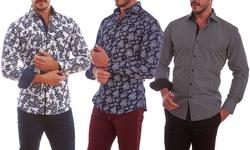 Azaro Uomo Men's Printed Button Down Shirts: David Purple/XL
