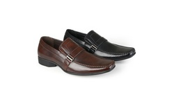 Vance Men's Square Toe Faux Leather Slip-On Loafers - Black - Size: 8