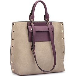 Dasein Tote With Front Pocket And Gold Snap Accents: Stone/purple