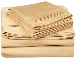 650TC Cotton Solid Split King 5PC Sheet Set  Gold