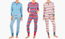 Olive Street Women's Holiday Deer & Tree Thermal Set - Multi - Size: M