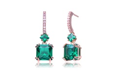 C.Z Collections Sterling Silver Emerald Square Shape Drop Earrings