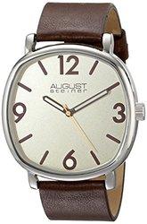 August Steiner Men's Leather Strap Watch: Brown/Cream (ASGP8139BR)