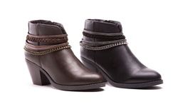 Olive Street Women's Chain Detail Booties - Chocolate - Size: 8.5