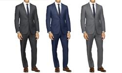 Joel Orris Men's 2-Piece Slim-Fit Sharkskin Suit - Grey - Size: 42rx36w