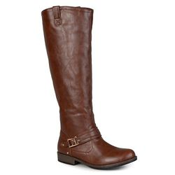 Journee Women's Wide-Calf Buckle Riding Boots - Brown - Size: 8.5WC