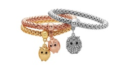 18K Gold Plated Tri-Gold Charm Bracelet Set: Owl