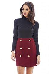 AX Paris Button Detail Mini Dress - Wine - Size: 14