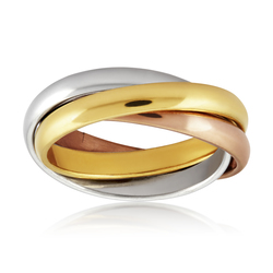 West Coast Jewelry Tri-Color Stainless Steel Intertwined Triple Band Ring