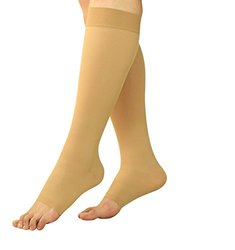 Maternity Compression Stockings - Pregnancy Tights & Leggings - Knee High Open Toe Socks 20 - 30 mmHg With Free Sock Aid - Refreshes Tired Legs & Helps Reduce Leg Swellings (1 Pair, Small - Medium)